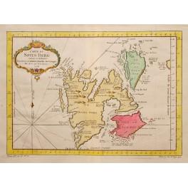 1748 ANTIQUE MAP, ISLAND SPITSBERGEN, GRUMANT, BELLIN