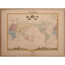 1860 Radierungen PLANISHèRE Karte von Vuilemin, Amerika, Europa