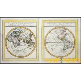 Easten-Western Hemisphere Americas Asia Europe Africa old map Bodenehr 1704