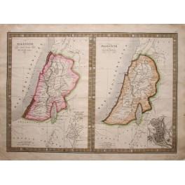 Holy land Palestine, Jerusalem 1835 antique map by Monin.