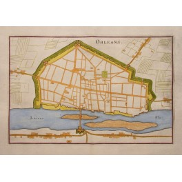 Orleans France 17th Century Town Fortress Plan by Merian