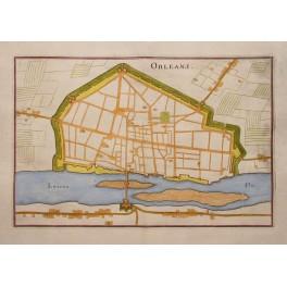 Orleans Frankreich des 17. Jahrhunderts Stadtfestung Plan von Merian