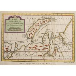 Novaya Zemlya Russia, antique map by N. Bellin, 1750