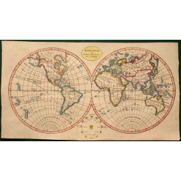 Mappe Monde. World map antique, Anonymous 1821