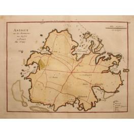 ANTIGUE Island antique map, Paris Ches Crépy, 1767
