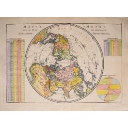 1789 WORLD MAP SUR LA PLAN HEMISPHèRE BY BONNE