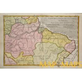 Brasil Maranon river original antique colonial map by Boone 1780