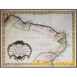 The Northeast Region of Brazil antique old map by d'Anville 1756