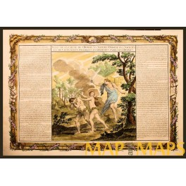 Garden of Eden Holy Land antique engraving Mornas 1762