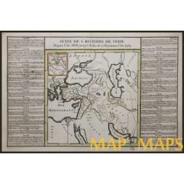 Syria History, Armenia, Turkey, Persia, Arabia antique old map de Mornas 1762