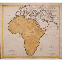 Antique map Africa Arabia Egypt by J. Rennel Paris 1800
