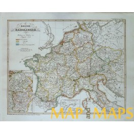 CAROLINGIAN EMPIRE FRANCE ITALY GERMAN HISTORICAL ANTIQUE MAP BY SPRUNER 1846