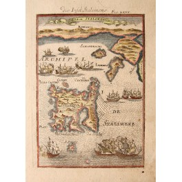 1686 antique map Greece Lemmos Stalimene by Mallet