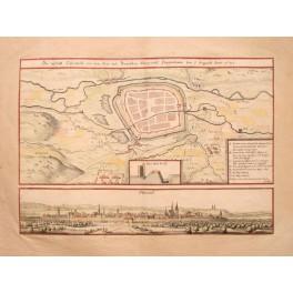 1650 antique plan Osterwiek, Osterwick, Germany by Merian